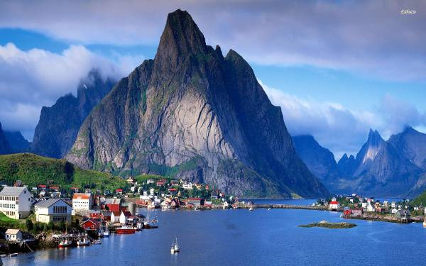 Villaggio del fiordo Sognefjord in Norvegia.