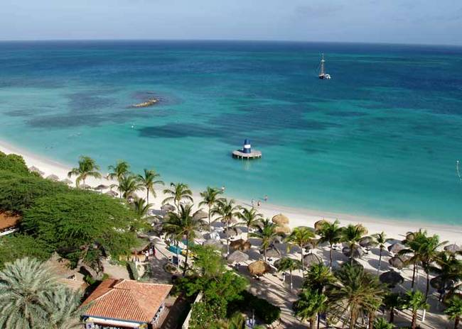 Una spiaggia di Aruba.
