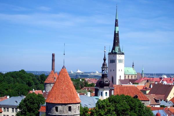 L'altissimo campanile della chiesa di Sant'Olav che spicca tra i palazzi di Tallinn.