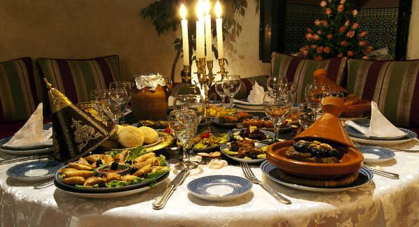 La cucina marocchina in un ristorante.