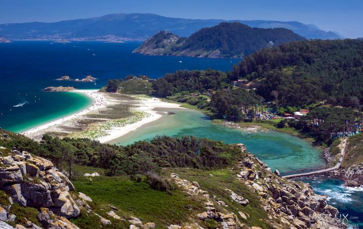 Il meraviglioso paesaggio delle Isole Cies in Galizia, Spagna.