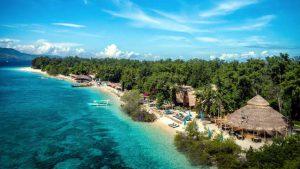 Una spiaggia nelle Isole Gili, vicino Lombok in Indonesia.