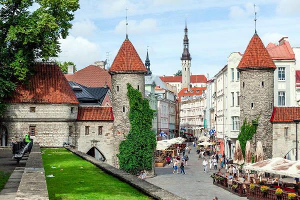 Una parte delle mura difensive e delle torri che circondano il centro storico di Tallinn.