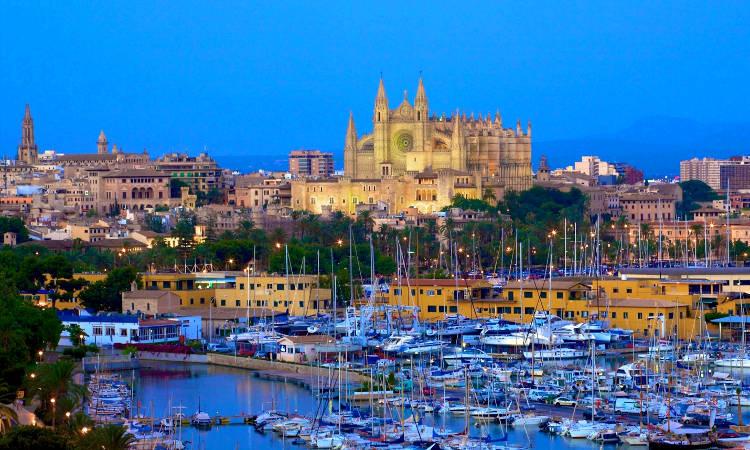 Palma di Maiorca con la cattedrale ed il porto pieno di barche.
