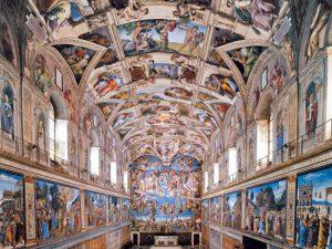 Gli affreschi nella Cappella Sistina in Vaticano, a Roma.
