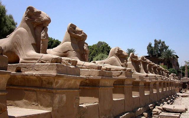 Sfingi al tempio di Karnak a Luxor, in Egitto.