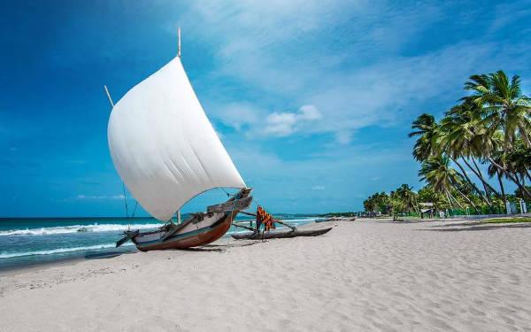 Una spiaggia esotica in Sri Lanka.